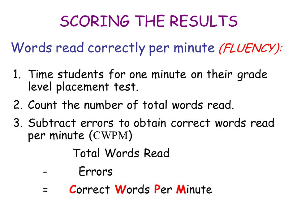 SCORING THE RESULTS Words read correctly per minute (FLUENCY):
