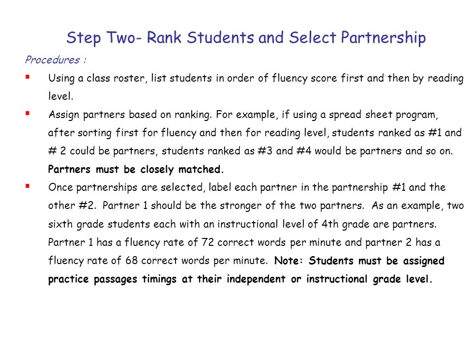 Step Two- Rank Students and Select Partnership