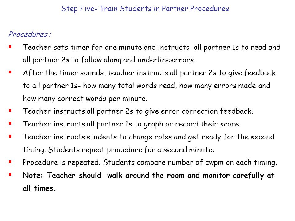 Step Five- Train Students in Partner Procedures