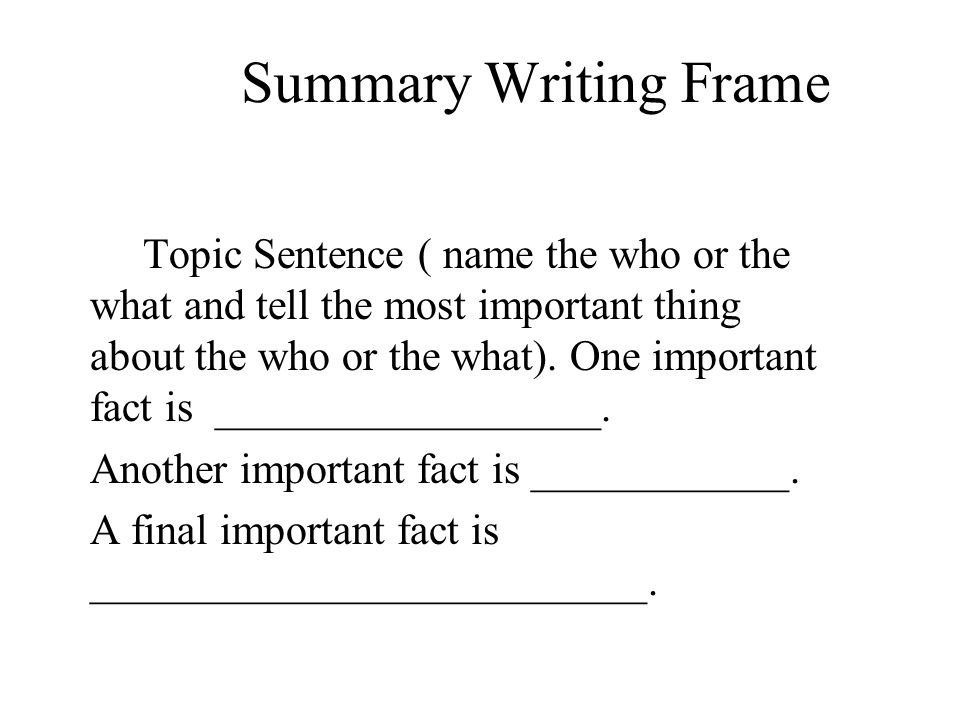 Summary Writing Frame