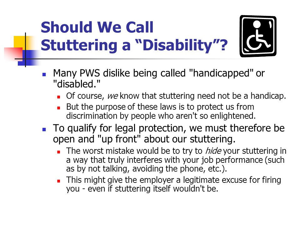 Should We Call Stuttering a Disability