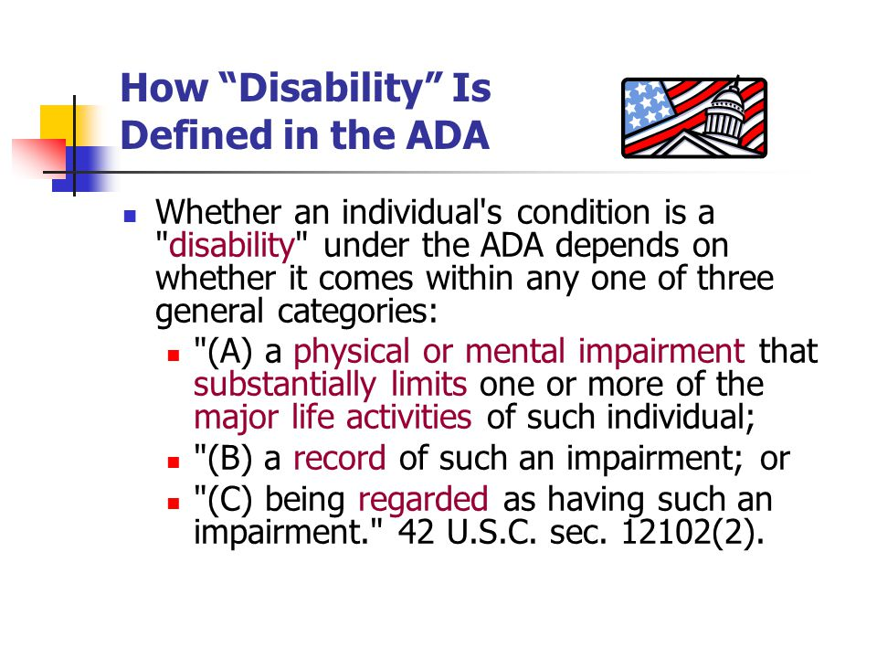 How Disability Is Defined in the ADA