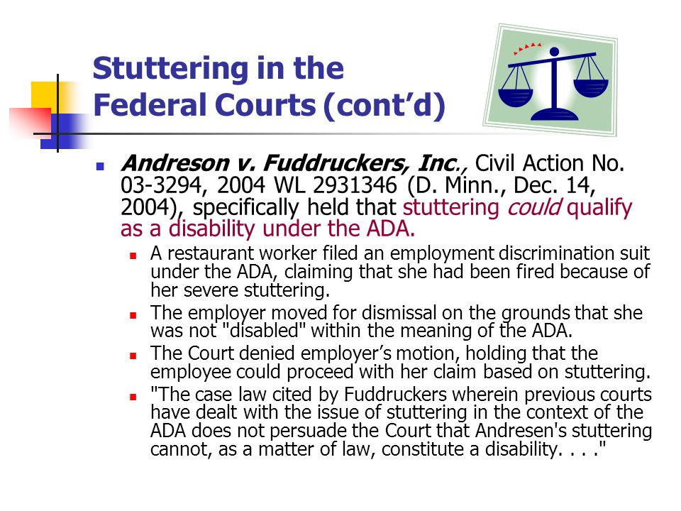 Stuttering in the Federal Courts (cont'd)