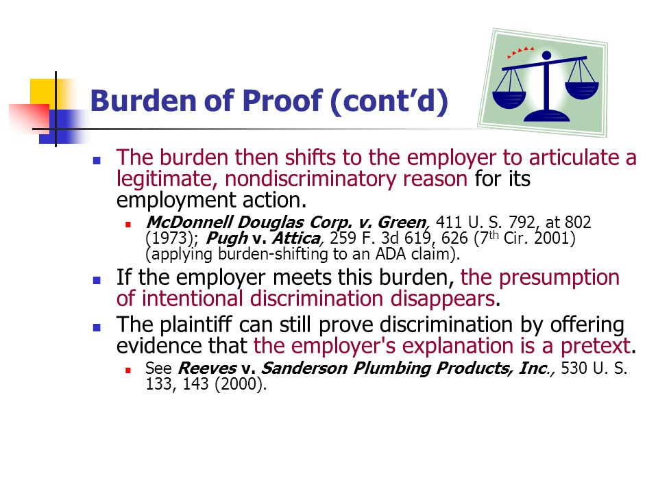 Burden of Proof (cont'd)