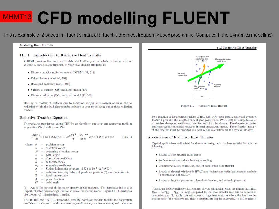 CFD modelling FLUENT MHMT13