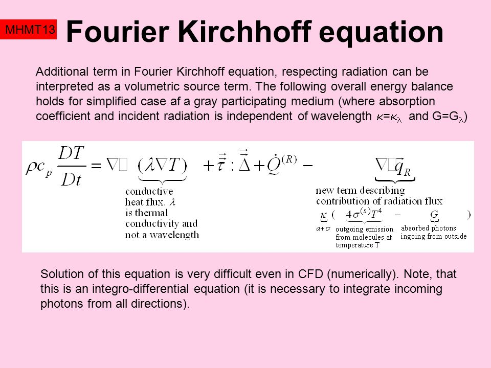 Fourier Kirchhoff equation