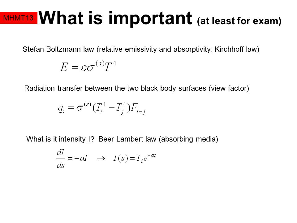 What is important (at least for exam)