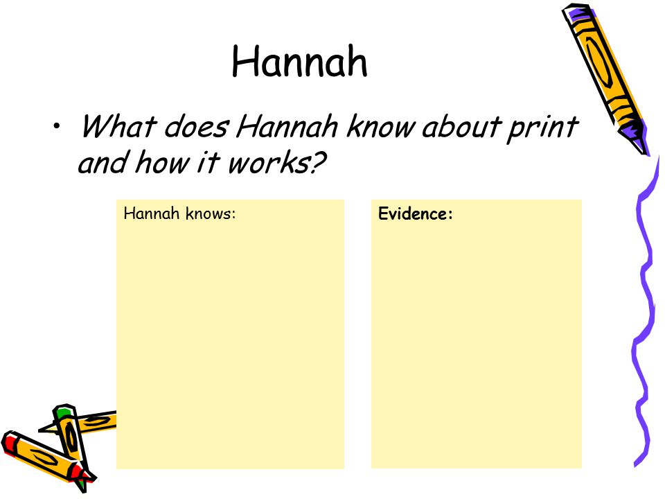 Hannah What does Hannah know about print and how it works