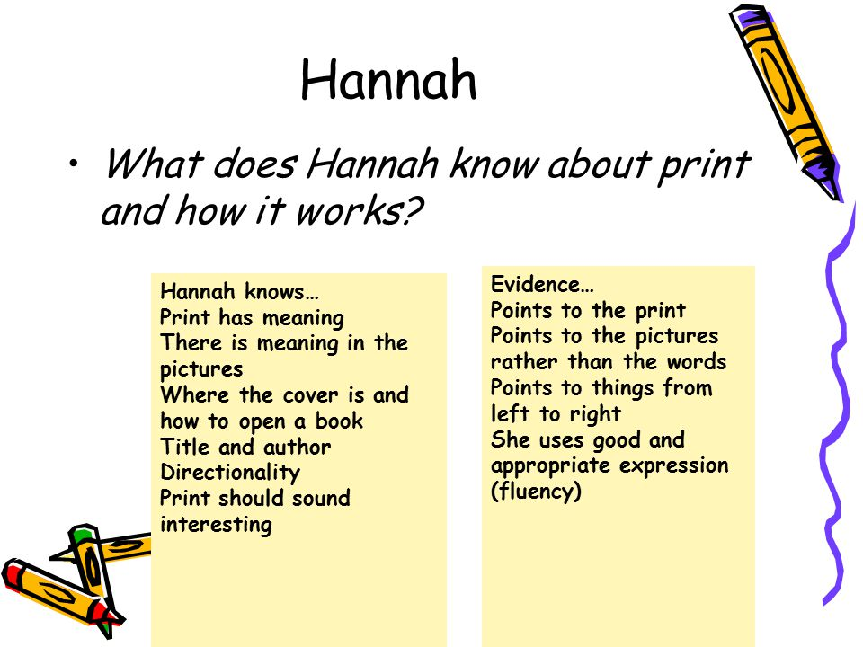 Hannah What does Hannah know about print and how it works Evidence…