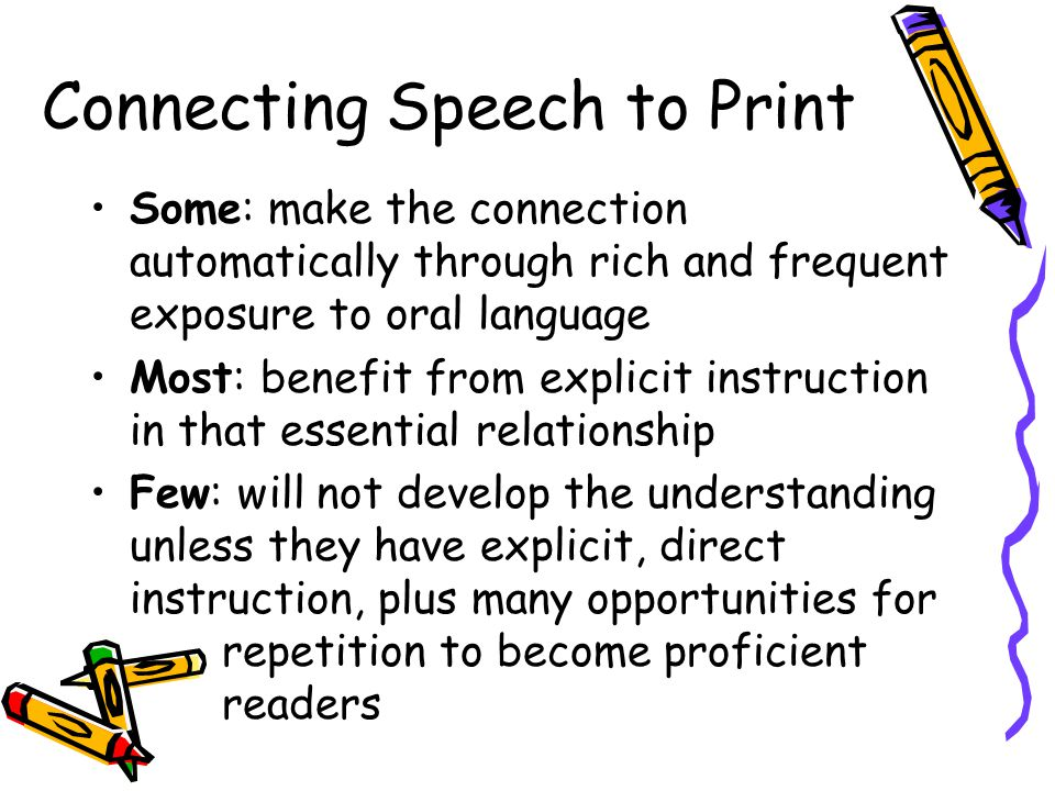Connecting Speech to Print