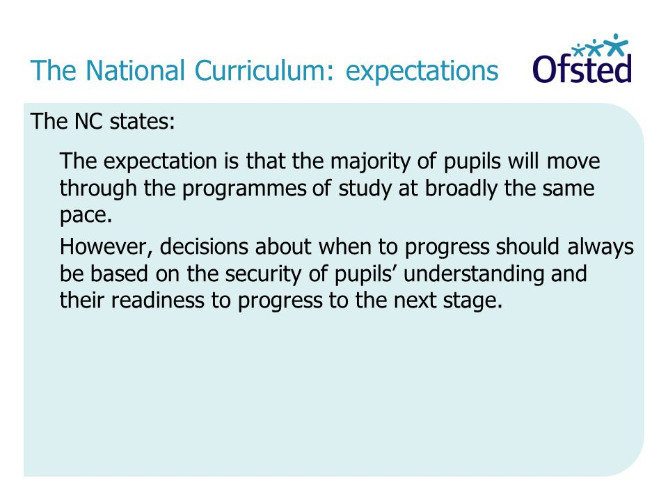 The National Curriculum: expectations