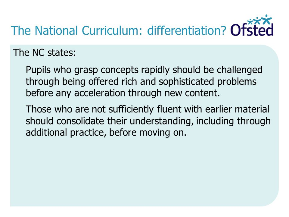 The National Curriculum: differentiation
