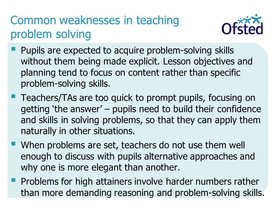 Common weaknesses in teaching problem solving