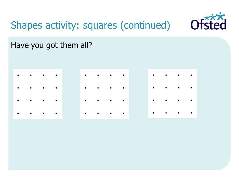 Shapes activity: squares (continued)