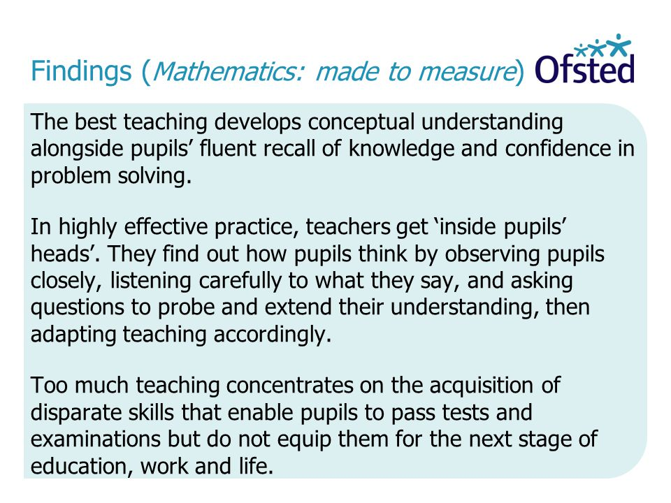 Findings (Mathematics: made to measure)
