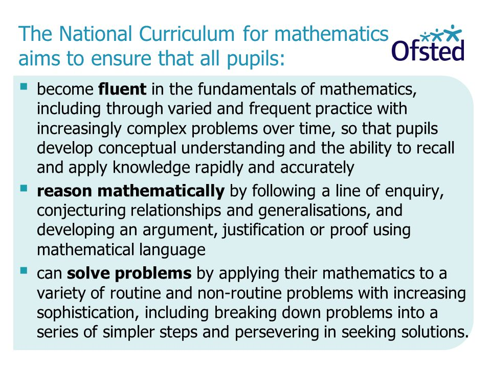 15/04/2017 The National Curriculum for mathematics aims to ensure that all pupils: