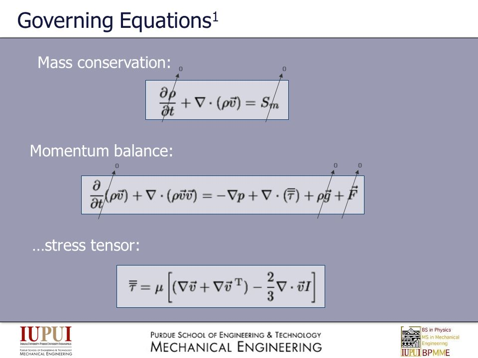Governing Equations1 Mass conservation: Momentum balance:
