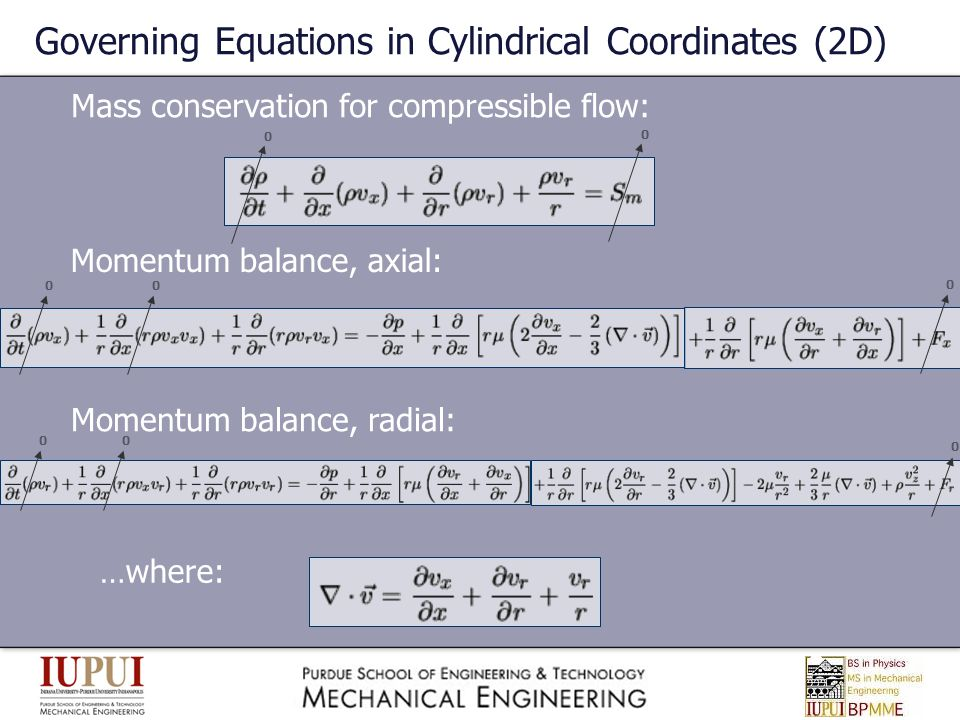 Governing Equations in Cylindrical Coordinates (2D)