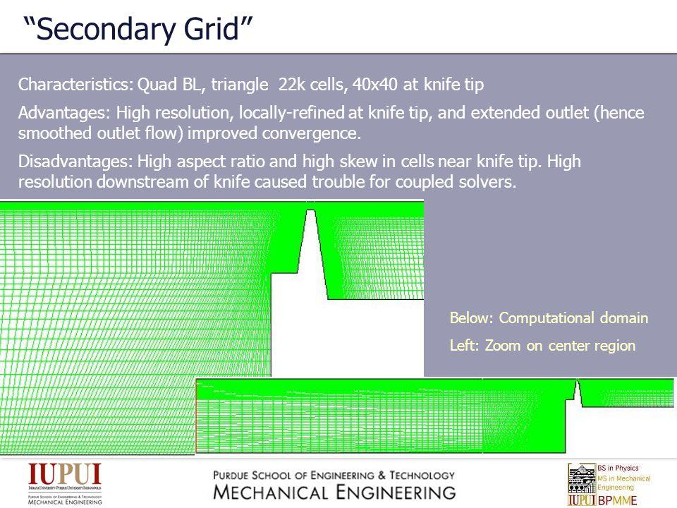 Secondary Grid Characteristics: Quad BL, triangle 22k cells, 40x40 at knife tip.