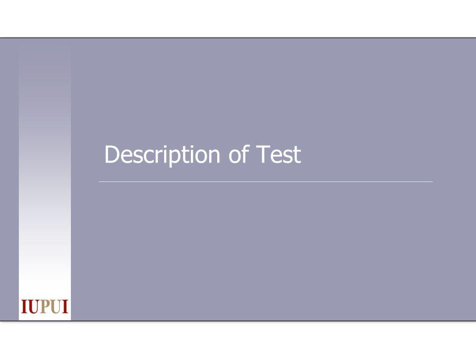 Description of Test