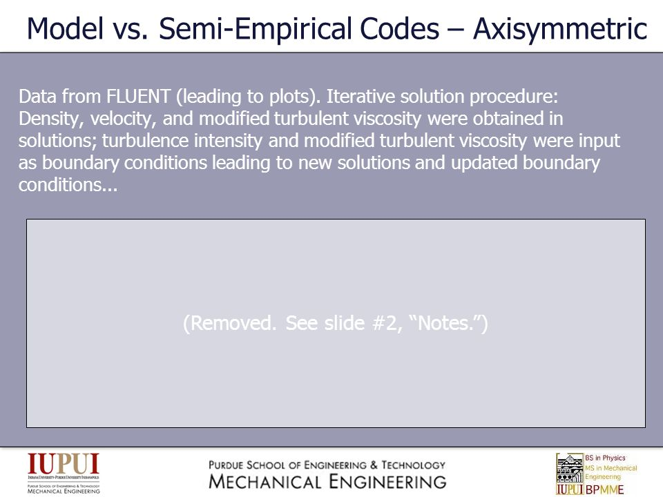 Model vs. Semi-Empirical Codes – Axisymmetric