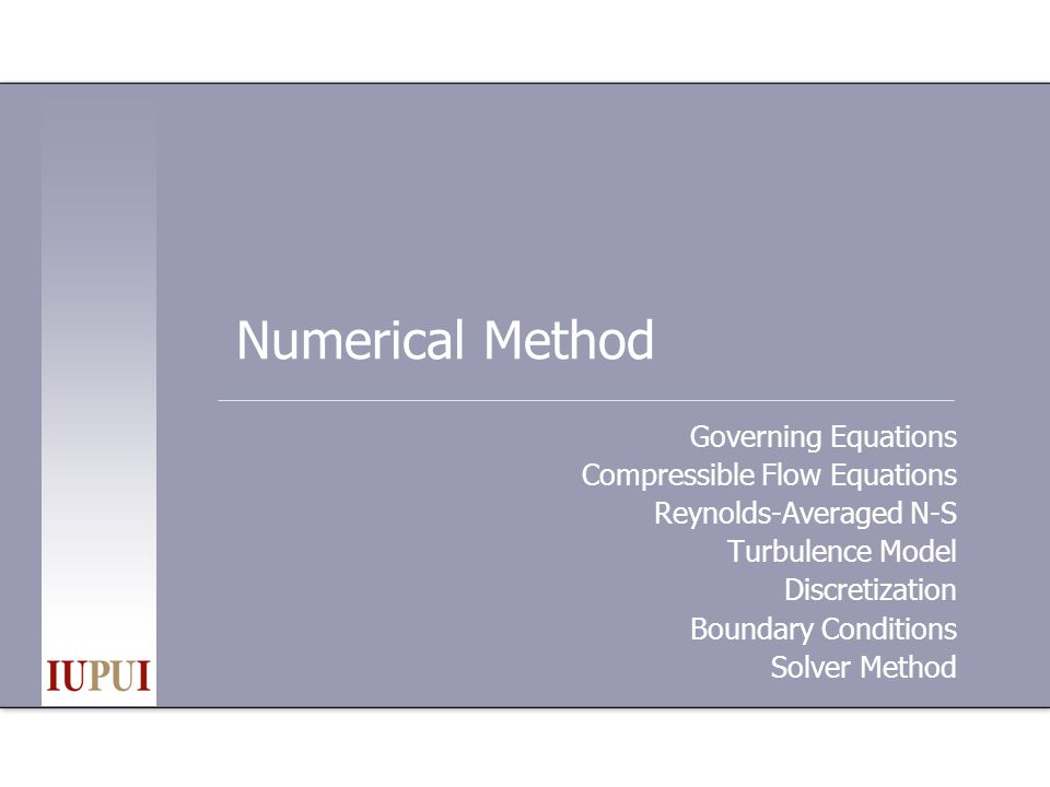 Numerical Method Governing Equations Compressible Flow Equations