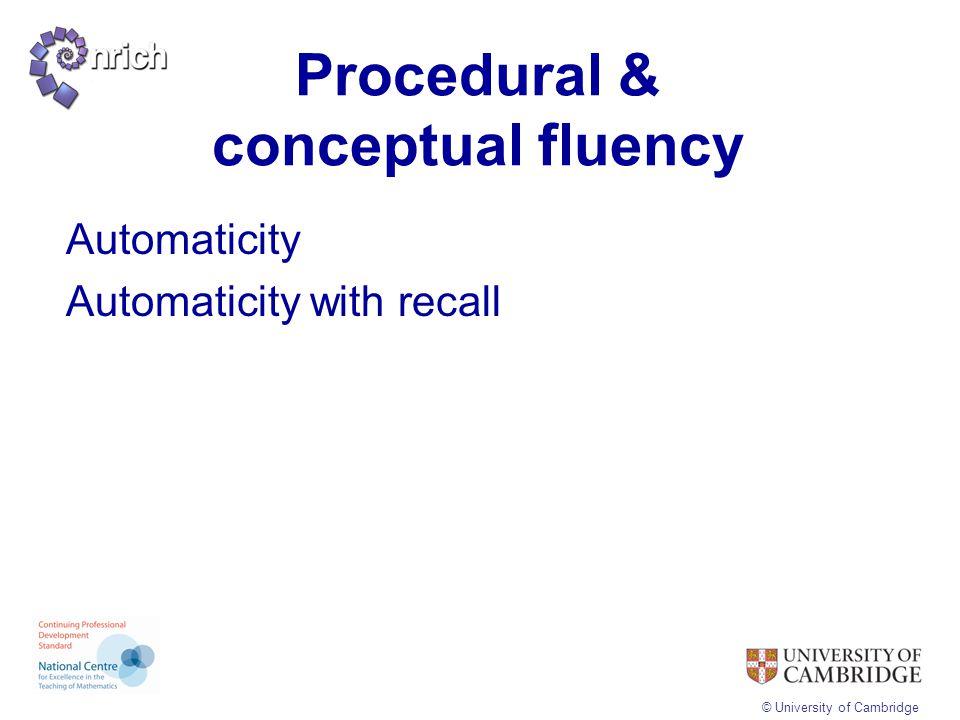 Procedural & conceptual fluency