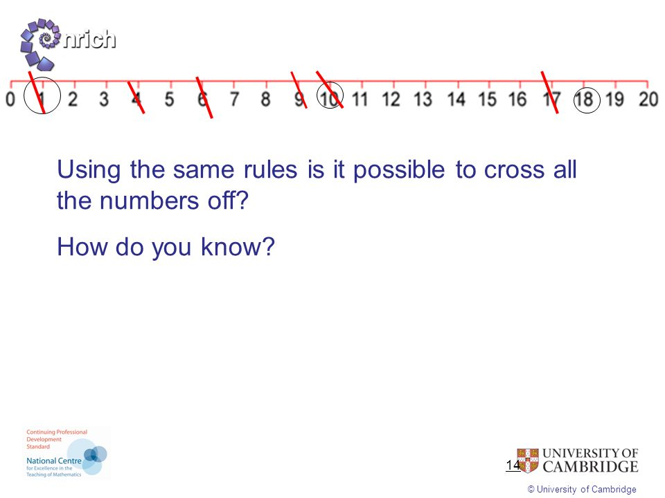 Using the same rules is it possible to cross all the numbers off