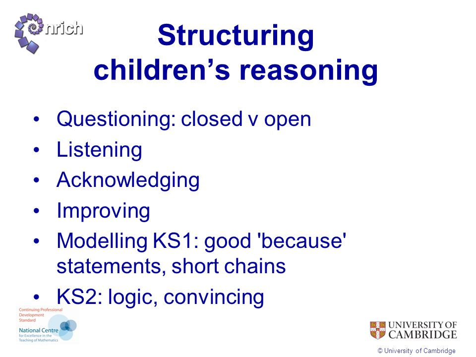 Structuring children's reasoning