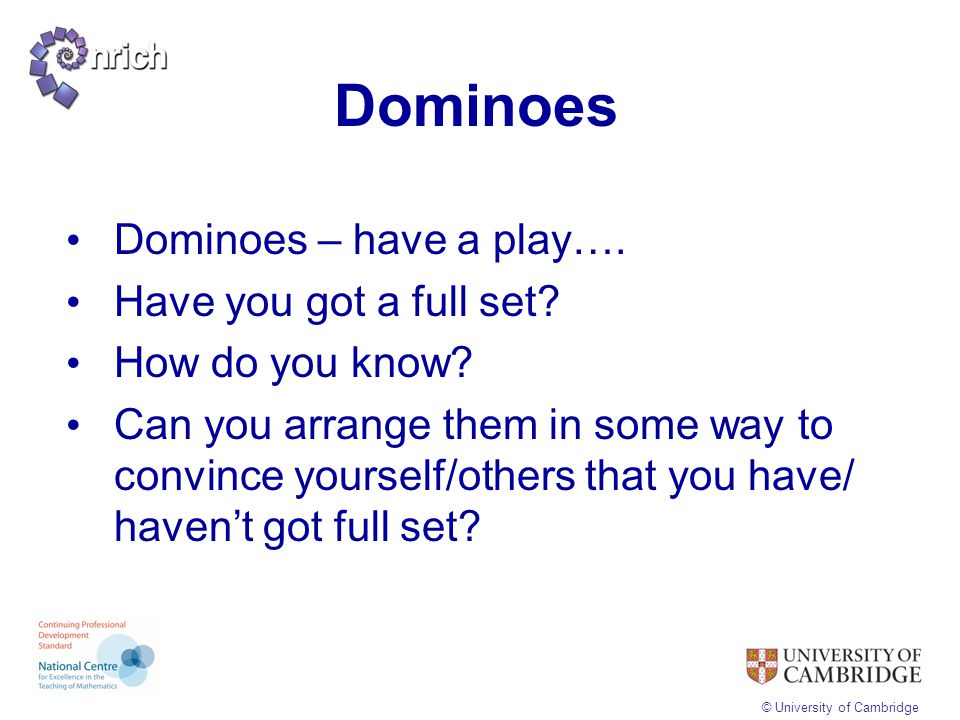 Dominoes Dominoes – have a play…. Have you got a full set