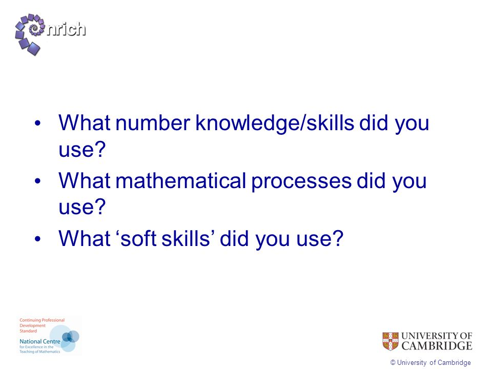 What number knowledge/skills did you use