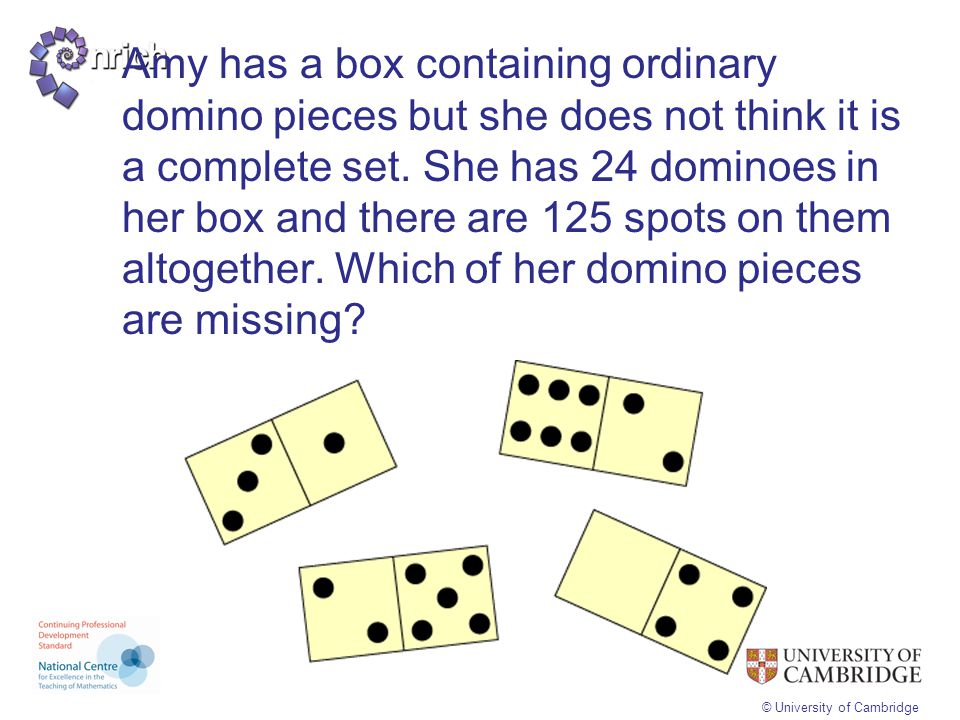 Amy has a box containing ordinary domino pieces but she does not think it is a complete set. She has 24 dominoes in her box and there are 125 spots on them altogether. Which of her domino pieces are missing