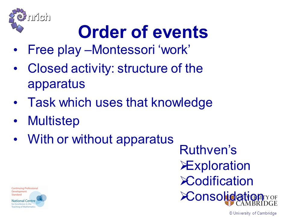 Order of events Free play –Montessori 'work'