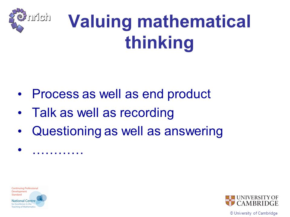 Valuing mathematical thinking
