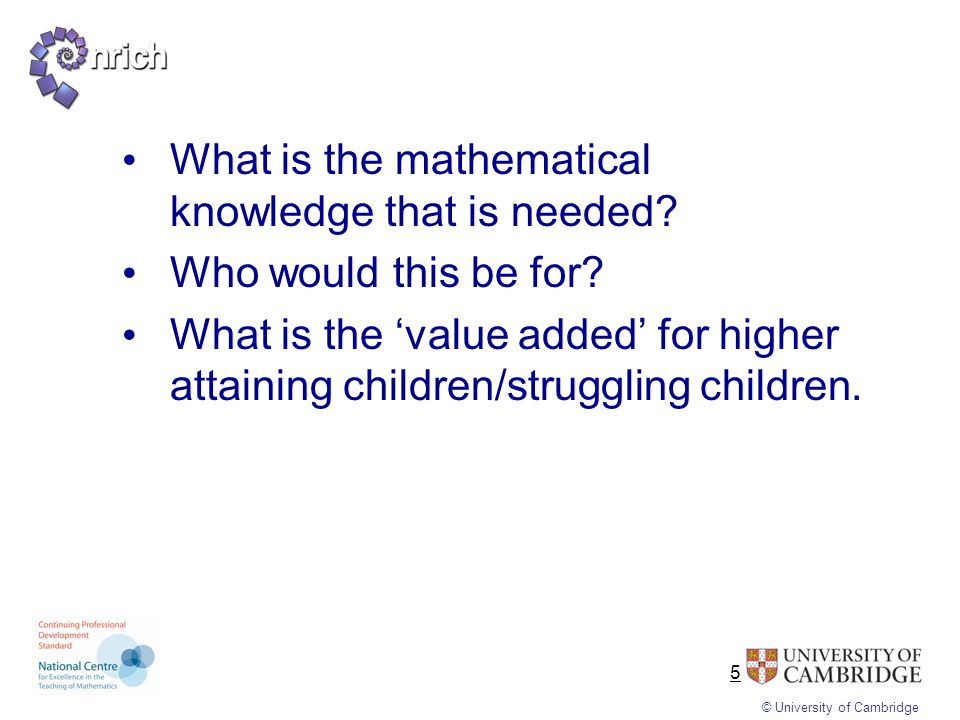 What is the mathematical knowledge that is needed