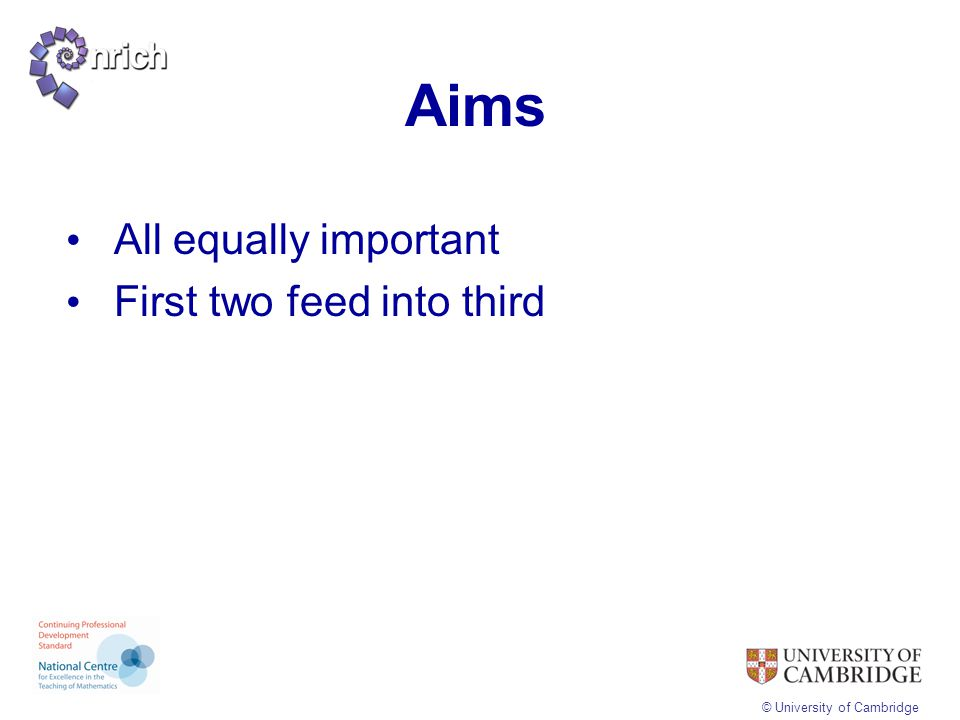 Aims All equally important First two feed into third