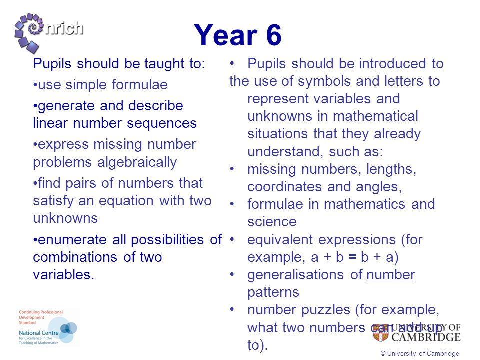 Year 6 Pupils should be taught to: use simple formulae