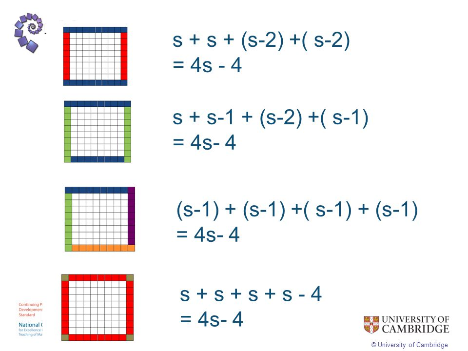 s + s + (s-2) +( s-2) = 4s - 4. s + s-1 + (s-2) +( s-1) = 4s- 4. (s-1) + (s-1) +( s-1) + (s-1) = 4s- 4.