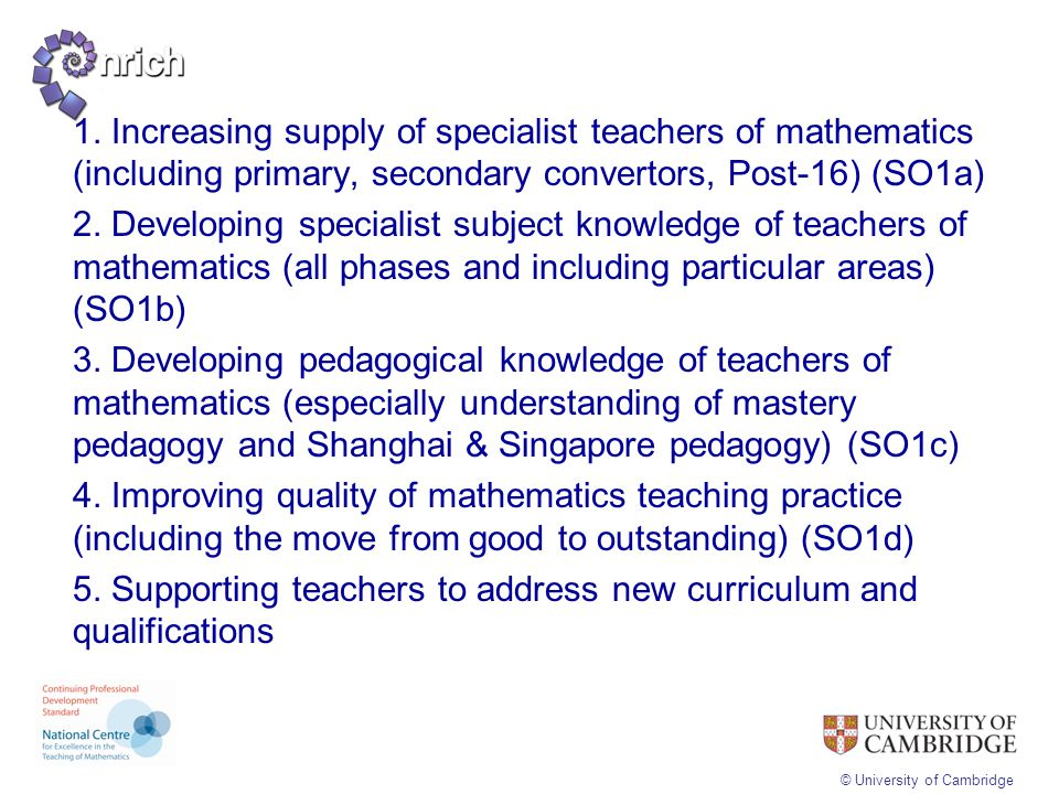 1. Increasing supply of specialist teachers of mathematics (including primary, secondary convertors, Post-16) (SO1a)