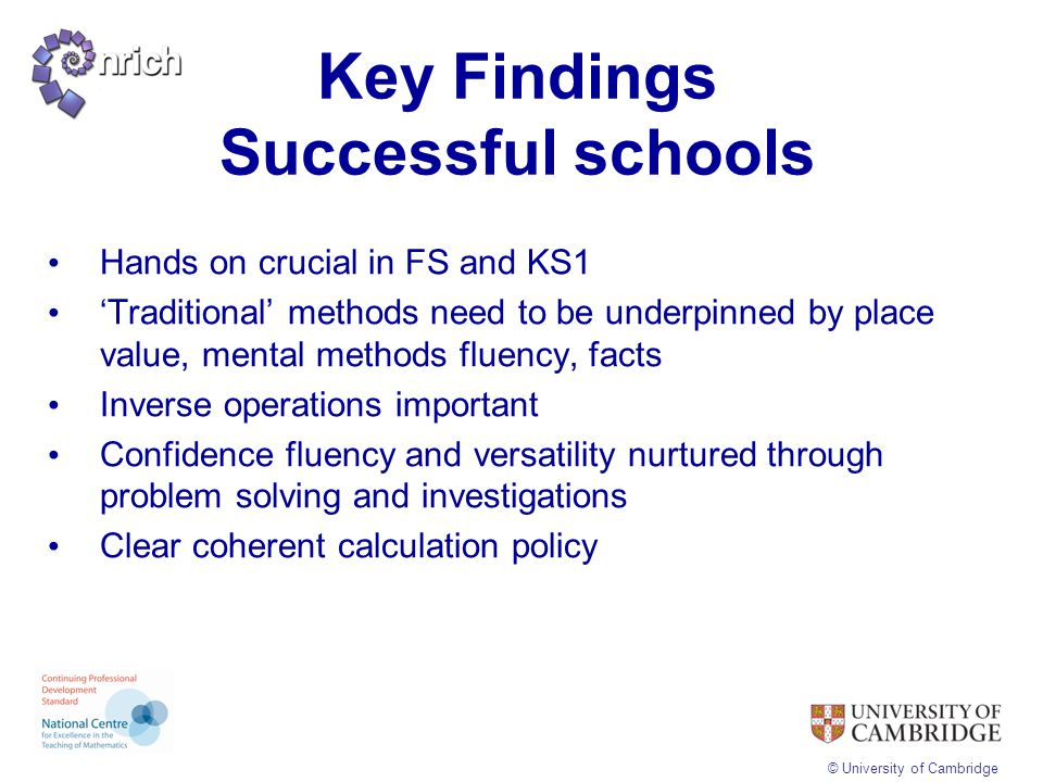 Key Findings Successful schools
