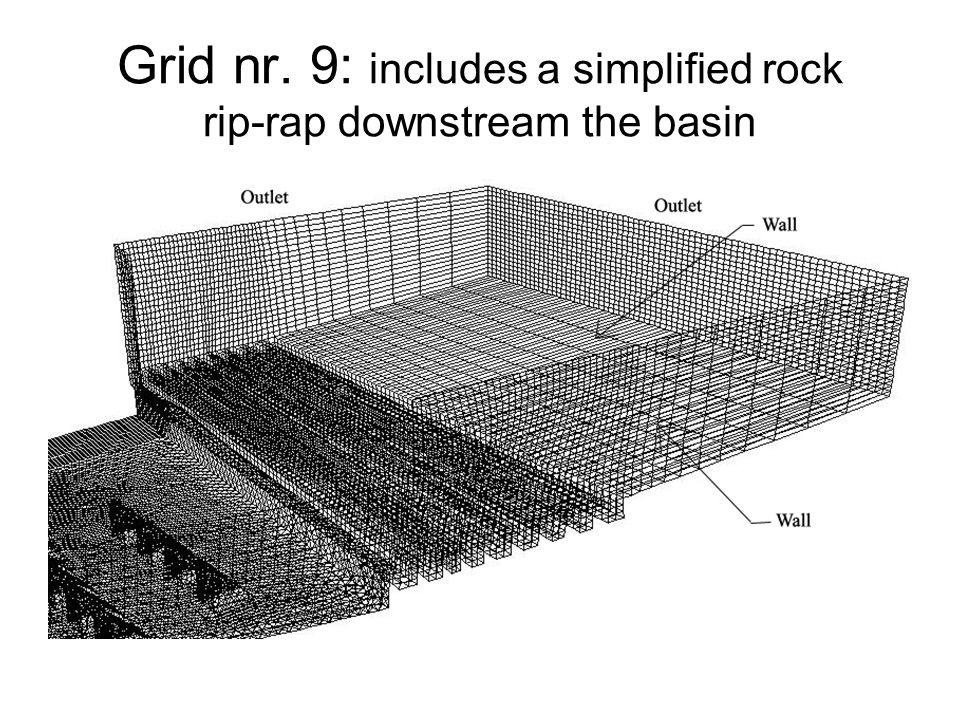 Grid nr. 9: includes a simplified rock rip-rap downstream the basin