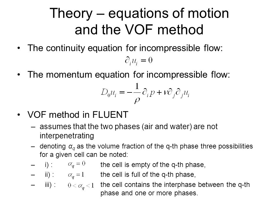 Theory – equations of motion and the VOF method