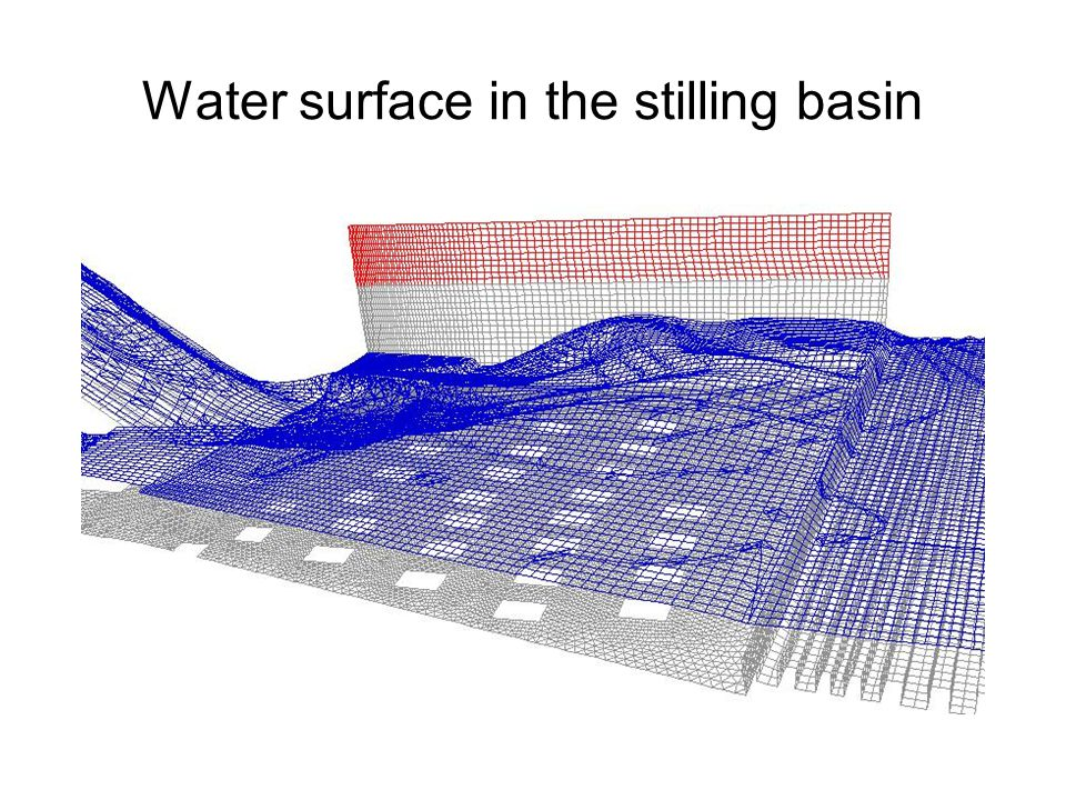 Water surface in the stilling basin