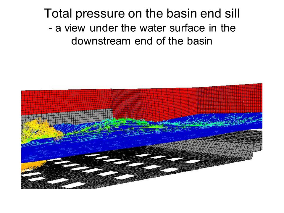 Total pressure on the basin end sill - a view under the water surface in the downstream end of the basin