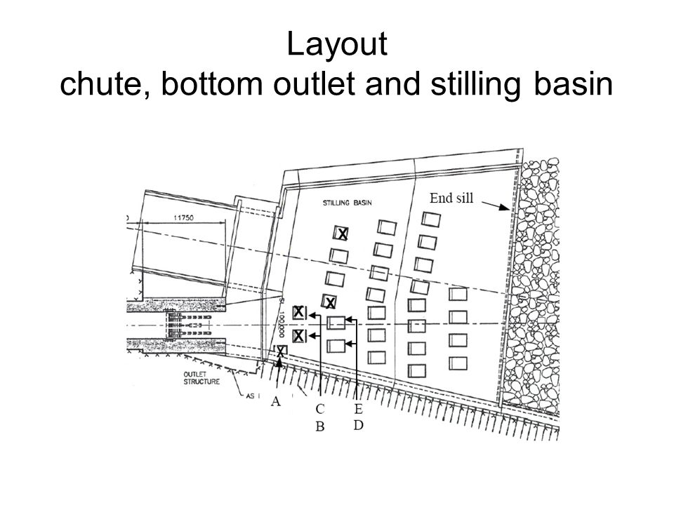 Layout chute, bottom outlet and stilling basin