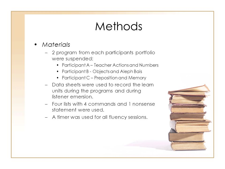 Methods Materials. 2 program from each participants portfolio were suspended: Participant A – Teacher Actions and Numbers.
