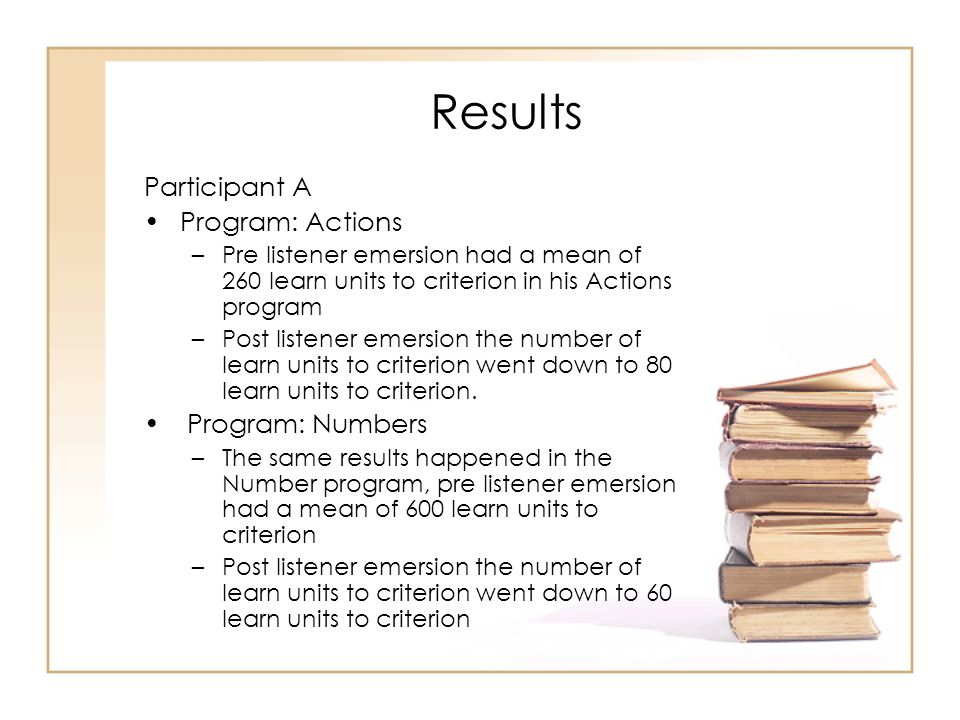 Results Participant A Program: Actions Program: Numbers