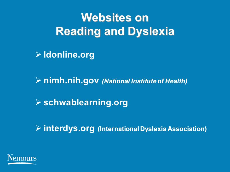Websites on Reading and Dyslexia