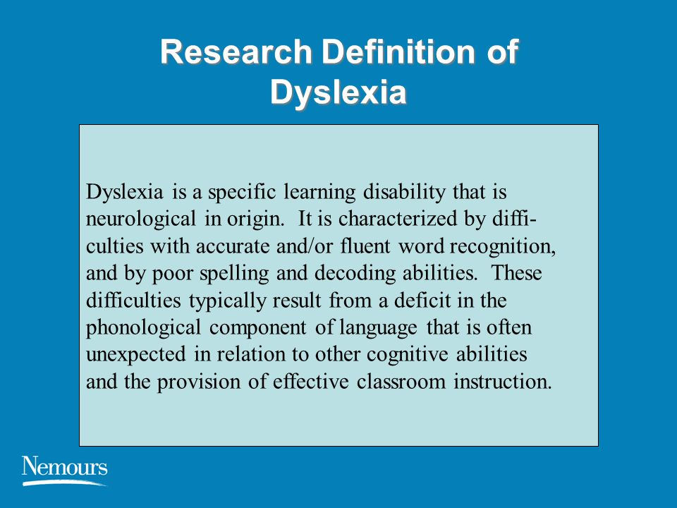 Research Definition of Dyslexia