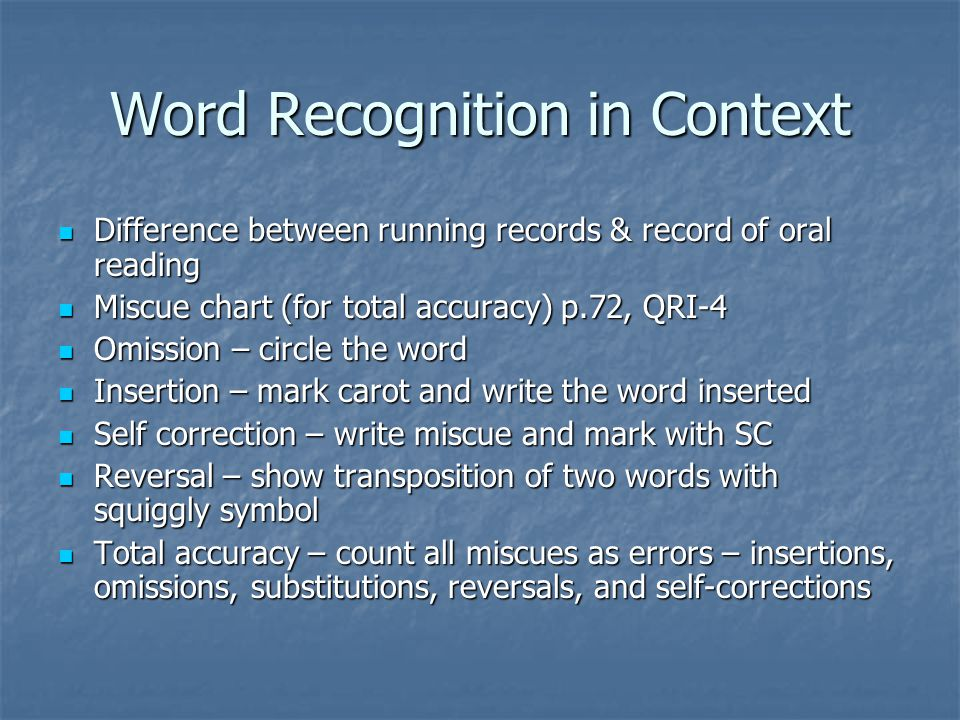 Word Recognition in Context